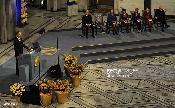 US President and Nobel Peace Prize laureate Barack Obama gives his Nobel lecture at the Nobel Peace Prize award ceremony at City Hall in Oslo on...