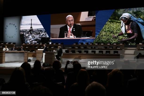 President and Prime Minister of Fiji Frank Bainimarama attends the One Planet Summit on December 12 2017 at La Seine Musicale venue on l'ile Seguin...