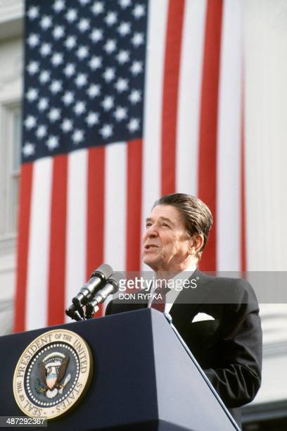 US President and Republican presidential candidate Ronald Reagan addresses supporters at an electoral meeting in November 1984 a few days before the...