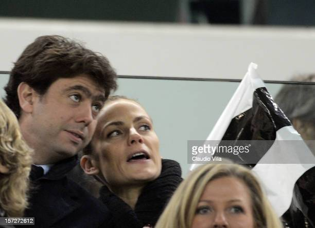 President Andrea Agnelli of Juventus and his wife attend the Serie A match between Juventus and Torino FC at Juventus Arena on December 1 2012 in...