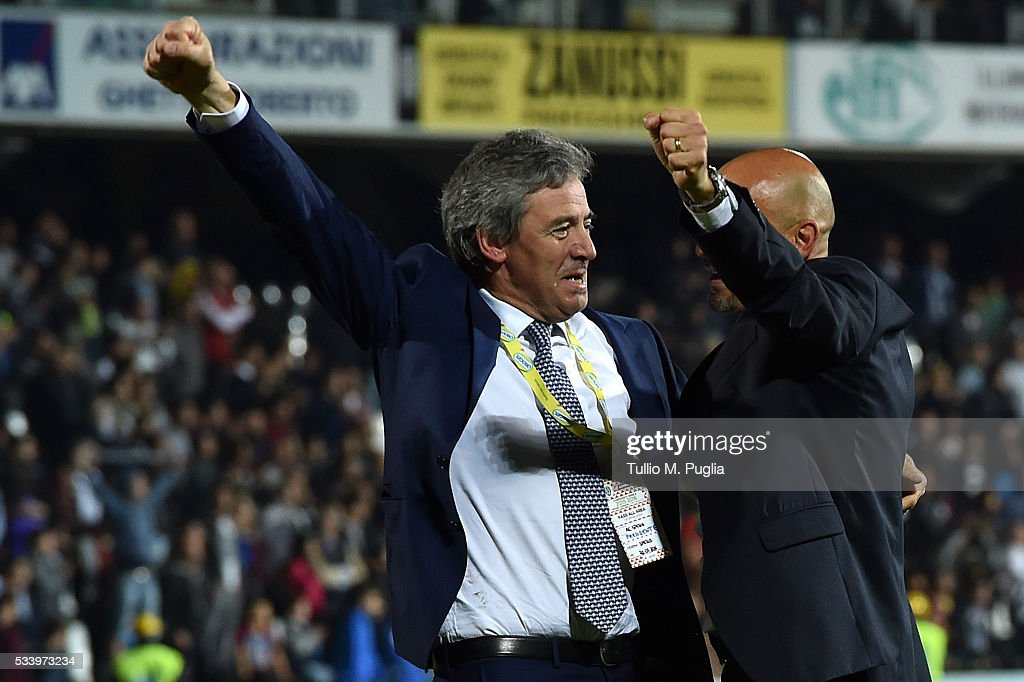 President Andrea Corradino (L) and head coach Andrea Di Carlo of Spezia celebrate after winning the Serie B playoff match between AC Cesena and AC Spezia on May 24, 2016 in Cesena, Italy.