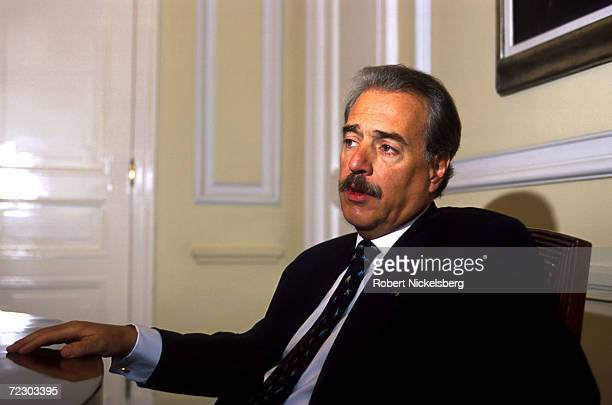President Andres Pastrana of Colombia takes part in an interview August 23 2000 at his office in Bogota Colombia