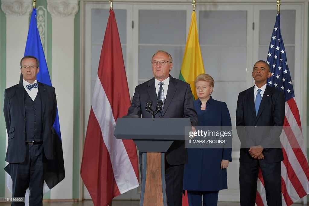 President Andris Berzins (2nd L) of Latvia speaks alongside President Toomas Hendrik Ilves (L) of Estonia, President Dalia Grybauskaite (2nd R) of Lithuania and US President <a gi-track='captionPersonalityLinkClicked' href=/galleries/search?phrase=Barack+Obama&family=editorial&specificpeople=203260 ng-click='$event.stopPropagation()'>Barack Obama</a> following meetings at the Kadriorg Art Museum in Tallinn, Estonia, September 3, 2014. US President <a gi-track='captionPersonalityLinkClicked' href=/galleries/search?phrase=Barack+Obama&family=editorial&specificpeople=203260 ng-click='$event.stopPropagation()'>Barack Obama</a> underscored Washington's commitment to the security of NATO allies, announcing additional US planes to police the skies over Europe's eastern flank bordering Russia.