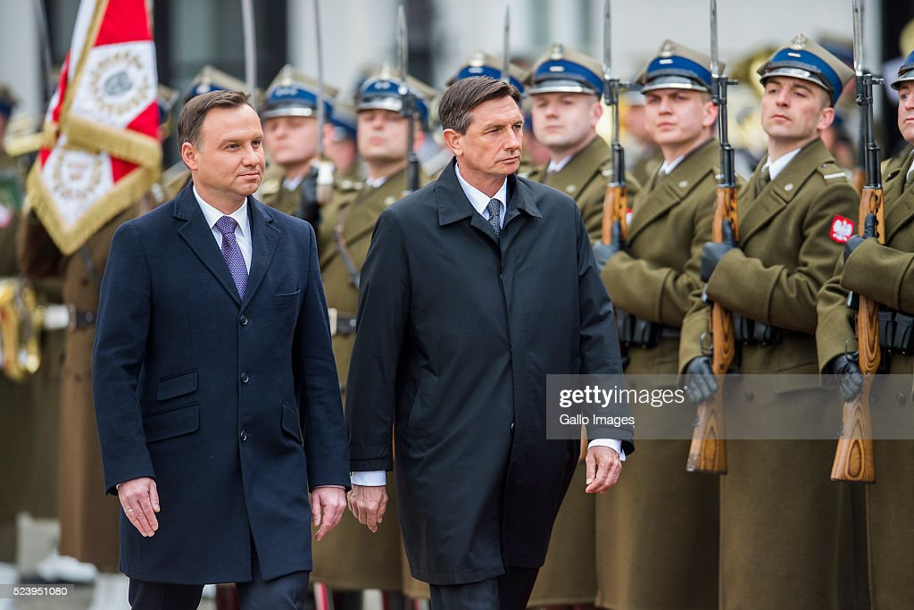 President <a gi-track='captionPersonalityLinkClicked' href=/galleries/search?phrase=Andrzej+Duda&family=editorial&specificpeople=4331018 ng-click='$event.stopPropagation()'>Andrzej Duda</a> of Poland meets President <a gi-track='captionPersonalityLinkClicked' href=/galleries/search?phrase=Borut+Pahor&family=editorial&specificpeople=2476171 ng-click='$event.stopPropagation()'>Borut Pahor</a> of Slovenia on April 22, 2016 at the Presidential Palace in Warsaw, Poland. The two Presidents met to talk about the immigration crisis, infrastructure and economic integration in Central Europe. The talks were also about preparations for the NATO Summit in Warsaw in July 2016.