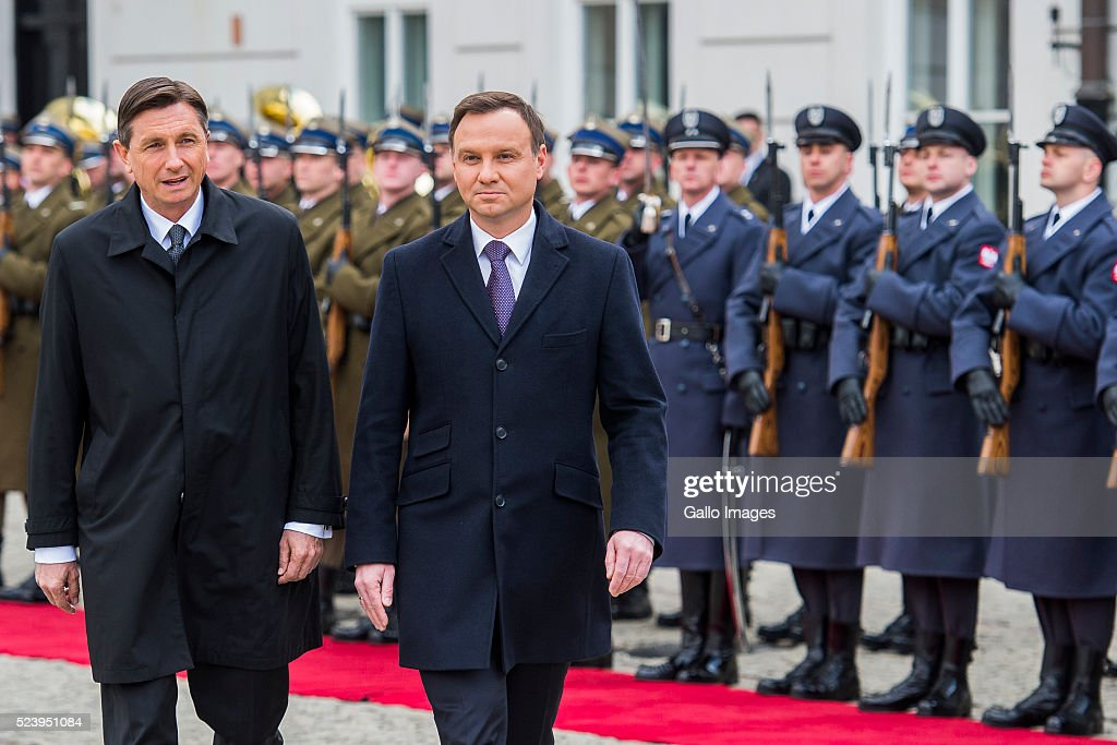 President Andrzej Duda of Poland meets President Borut Pahor of Slovenia on April 22 2016 at the Presidential Palace in Warsaw Poland The two...