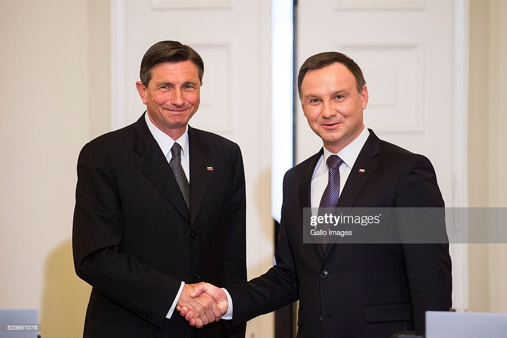 President Andrzej Duda of Poland shakes hands with President Borut Pahor of Slovenia on April 22 2016 at the Presidential Palace in Warsaw Poland The...