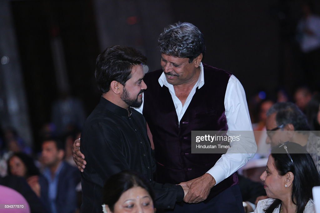 President Anurag Thakur with former Cricketer Kapil Dev during a sixth edition of Hindustan Times Most Stylish Awards 2016 at Hotel JW Marriot, Aerocity on May 24, 2016 in New Delhi, India.