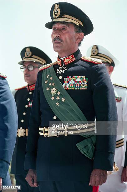 President Anwar Sadat of Egypt at a military review parade shortly before he was assassinated by soldiers in the parade