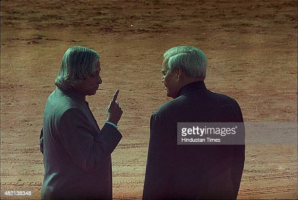 President APJ Abdul Kalam with Prime Minister Atal Bihari Vajpayee during the ceremonial reception of Iranian President Mahmoud Ahmadinejad at...