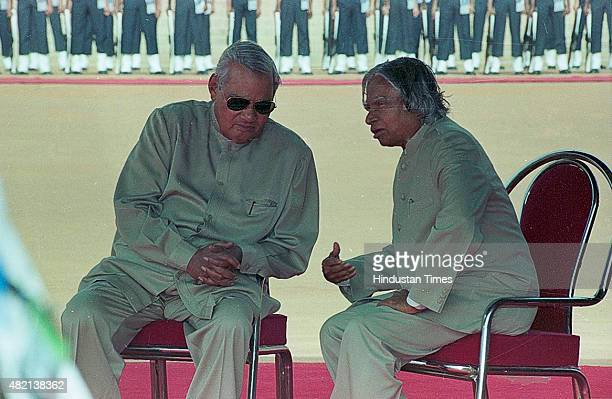 President APJ Abdul Kalam with Prime Minister Atal Bihari Vajpayee during the ceremonial reception of Mozambique President Joaquim Chissano at...