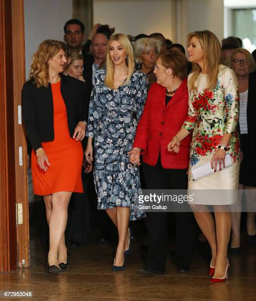 President Association of German Women Entrepreneurs Stephanie Bschorr Ivanka Trump daughter of US President Donald Trump German Chancellor Angela...