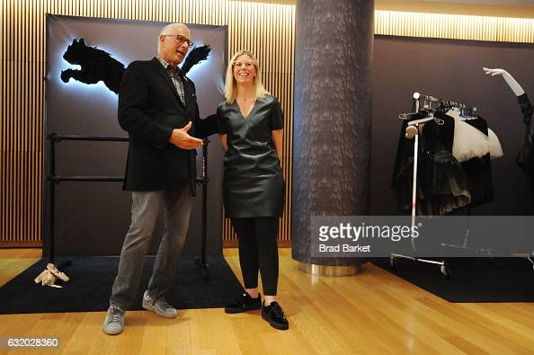 President at PUMA North America Jay Piccola and Head of Global Apparel Design for Running Training at PUMA Denise Smith De Los Santos speak during...