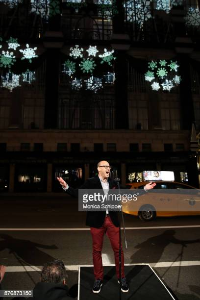 President at Saks Fifth Avenue Marc Metrick speaks at the 2017 Saks Fifth Avenue Holiday Window Unveiling And Light Show at Saks Fifth Avenue on...