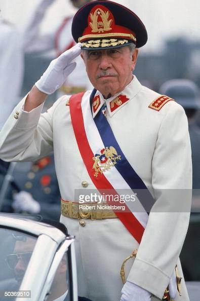 President Augusto Pinochet saluting on Armed Forces Day