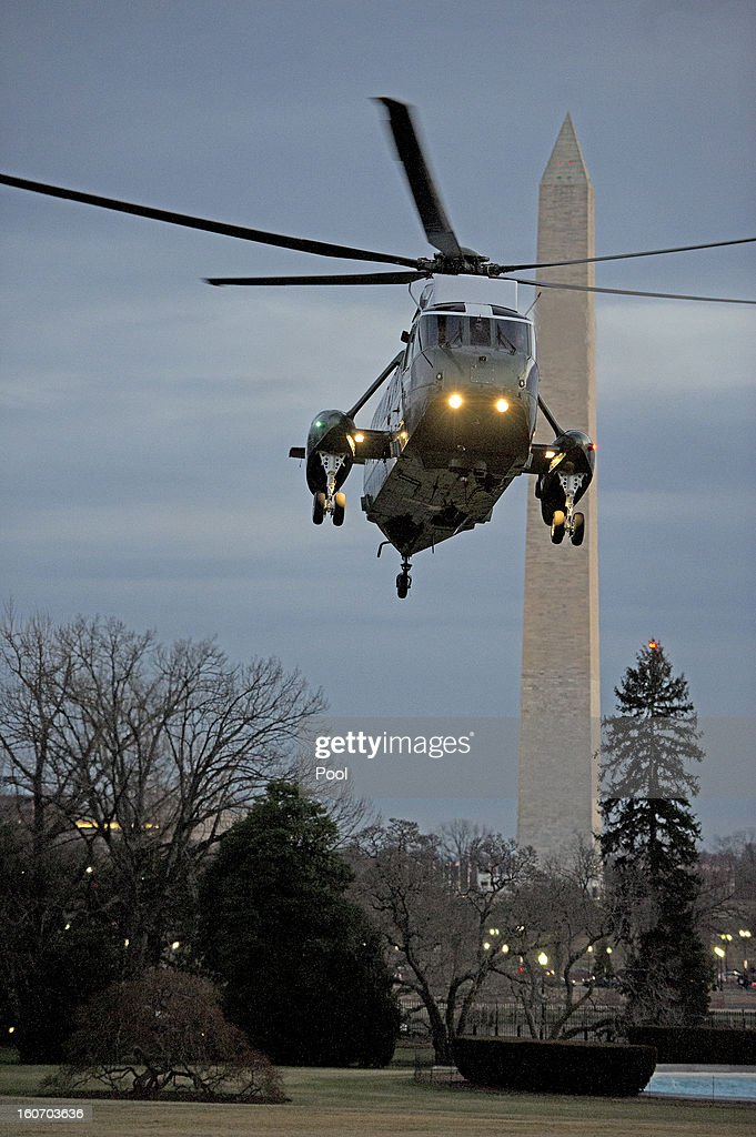U.S. President Barack Obama aboard Marine One, arrives on the South Lawn of the White House on February 4, 2013 in Washington, D.C. Obama returned from a trip to Minneapolis, Minnesota to promote his initiative to reduce gun violence.