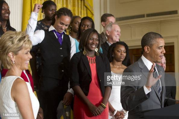 US President Barack Obama acknowledges player Brittney Griner during a ceremony honoring the 2012 NCAA Women's College Basketball Champion Baylor...