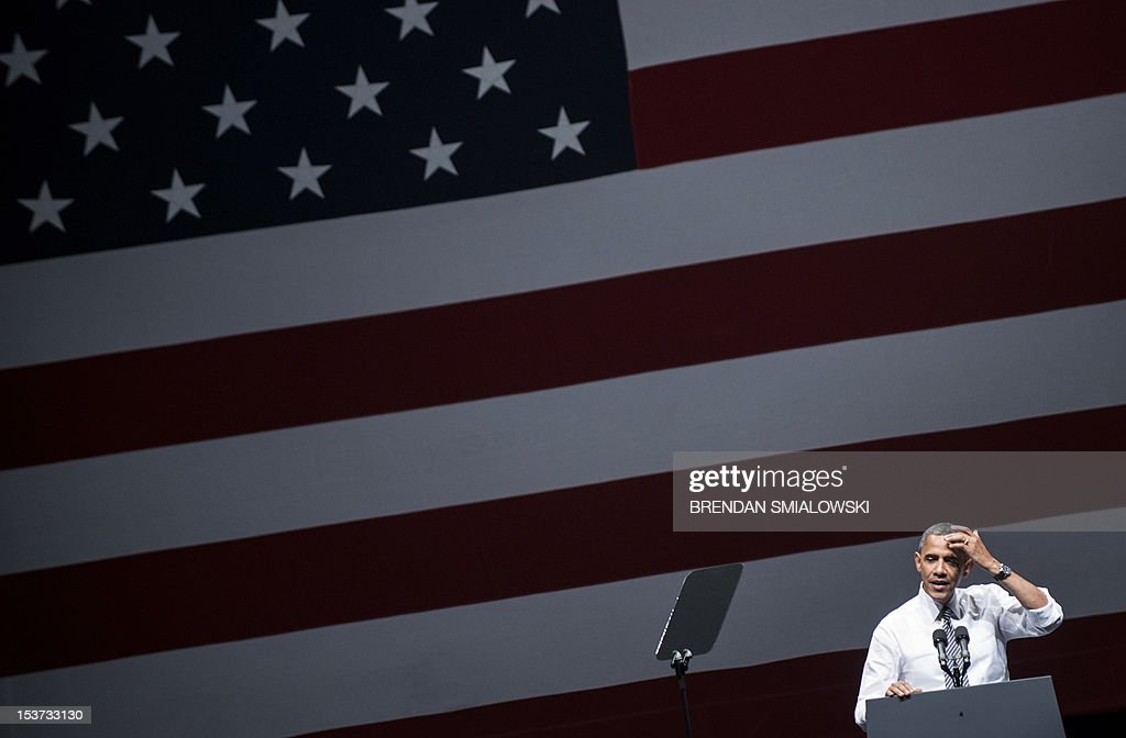US President Barack Obama addresses a campaign event at the Bill Graham Civic Auditorium October 8, 2012 in San Francisco, California. Obama is on a three day trip where he will campaign in California and Ohio as well as attend the establishment of the Cesar E. Chavez National Monument. AFP PHOTO/Brendan SMIALOWSKI