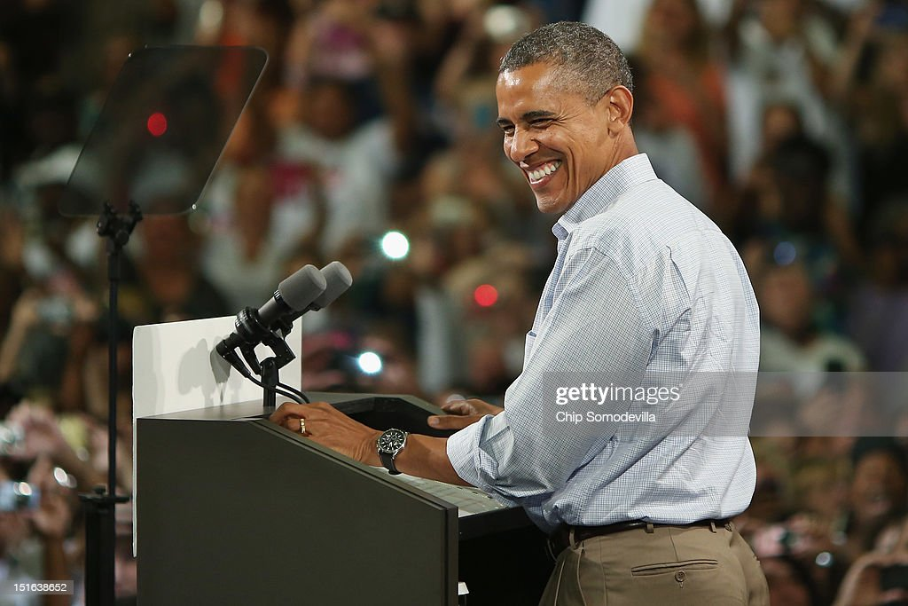 U.S. President <a gi-track='captionPersonalityLinkClicked' href=/galleries/search?phrase=Barack+Obama&family=editorial&specificpeople=203260 ng-click='$event.stopPropagation()'>Barack Obama</a> addresses a campaign event at the Florida Institute of Technology Charles and Ruth Clemente Center September 9, 2012 in Melbourne, Florida. Working with the momentum from this week's Democratic National Convention, Obama is on a two-day campaign swing from one side of Florida to the other on the politically important I-4 corridor.