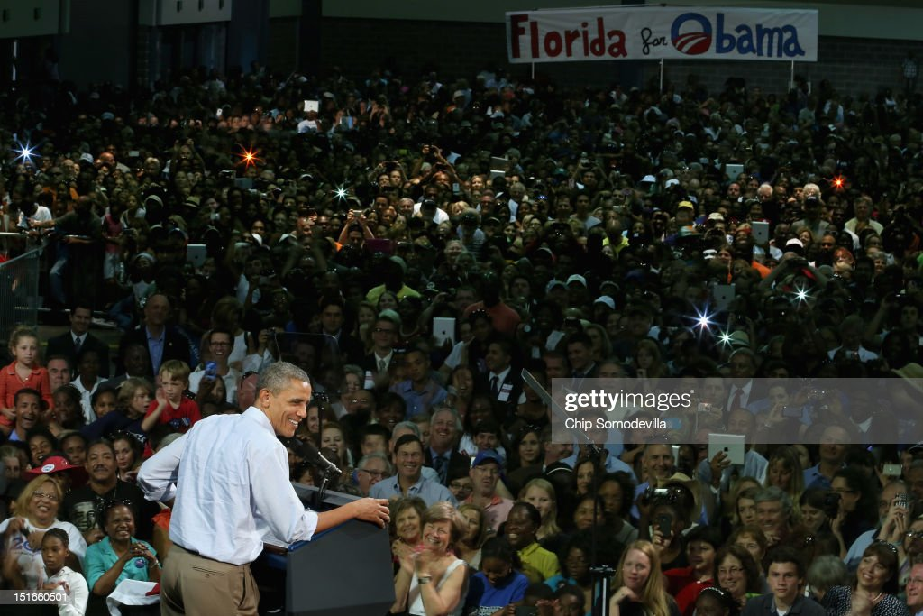 U.S. President <a gi-track='captionPersonalityLinkClicked' href=/galleries/search?phrase=Barack+Obama&family=editorial&specificpeople=203260 ng-click='$event.stopPropagation()'>Barack Obama</a> addresses a campaign event at the Palm Beach County Convention Center September 9, 2012 in West Palm Beach, Florida. Working with the momentum from this week's Democratic National Convention, Obama is on a two-day campaign swing from one side of Florida to the other on the politically important I-4 corridor.