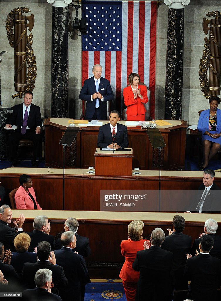 US President Barack Obama addresses a joint session of Congress on his embattled healthcare reform plan at the US Capitol in Washington, DC, on September 9, 2009. Obama, whose approval ratings have taken a hit, hopes to regain control of healthcare reform, one of his top legislative priorities. AFP PHOTO/Jewel SAMAD