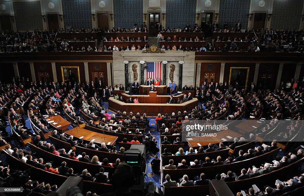 US President Barack Obama addresses a joint session of Congress on his embattled healthcare reform plan at the US Capitol in Washington, DC, on September 9, 2009. Obama, whose approval ratings have taken a hit, hopes to regain control of healthcare reform, one of his top legislative priorities. TOPSHOTS AFP PHOTO/Jewel SAMAD