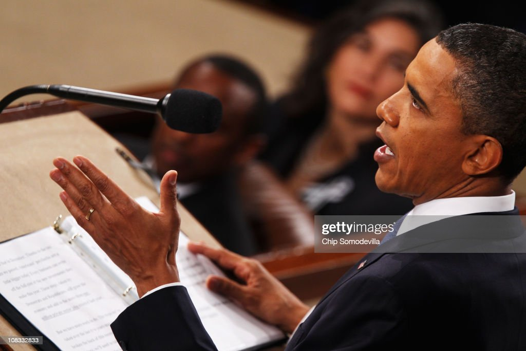 U.S. President <a gi-track='captionPersonalityLinkClicked' href=/galleries/search?phrase=Barack+Obama&family=editorial&specificpeople=203260 ng-click='$event.stopPropagation()'>Barack Obama</a> addresses a Joint Session of Congress while delivering his State of the Union speech January 25, 2011 in Washington, DC. During his speech Obama was expected to focus on the U.S. economy and increasing education and infrastructure funding while proposing a three-year partial freeze of domestic programs and $78 billion in military spending cuts.