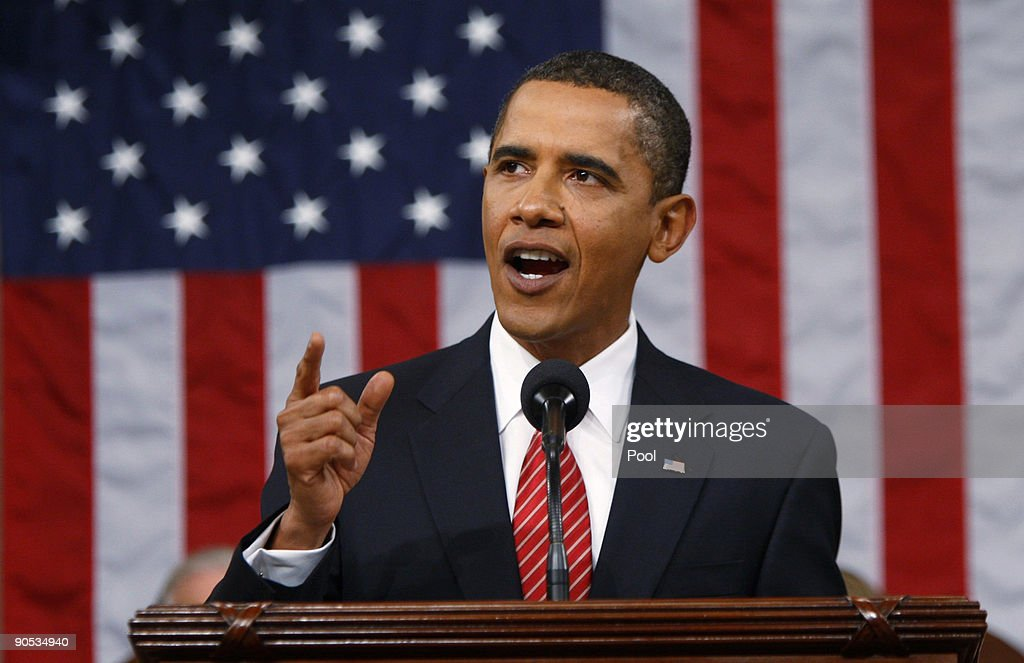 U.S. President Barack Obama addresses a joint session of the U.S. Congress at the U.S. Capitol September 9, 2009 in Washington, DC. Obama addressed the joint session to urge passage of his national health care plan, the centerpiece of his domestic agenda.