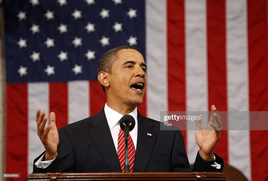 U.S. President <a gi-track='captionPersonalityLinkClicked' href=/galleries/search?phrase=Barack+Obama&family=editorial&specificpeople=203260 ng-click='$event.stopPropagation()'>Barack Obama</a> addresses a joint session of the U.S. Congress at the U.S. Capitol September 9, 2009 in Washington, DC. Obama addressed the joint session to urge passage of his national health care plan, the centerpiece of his domestic agenda.