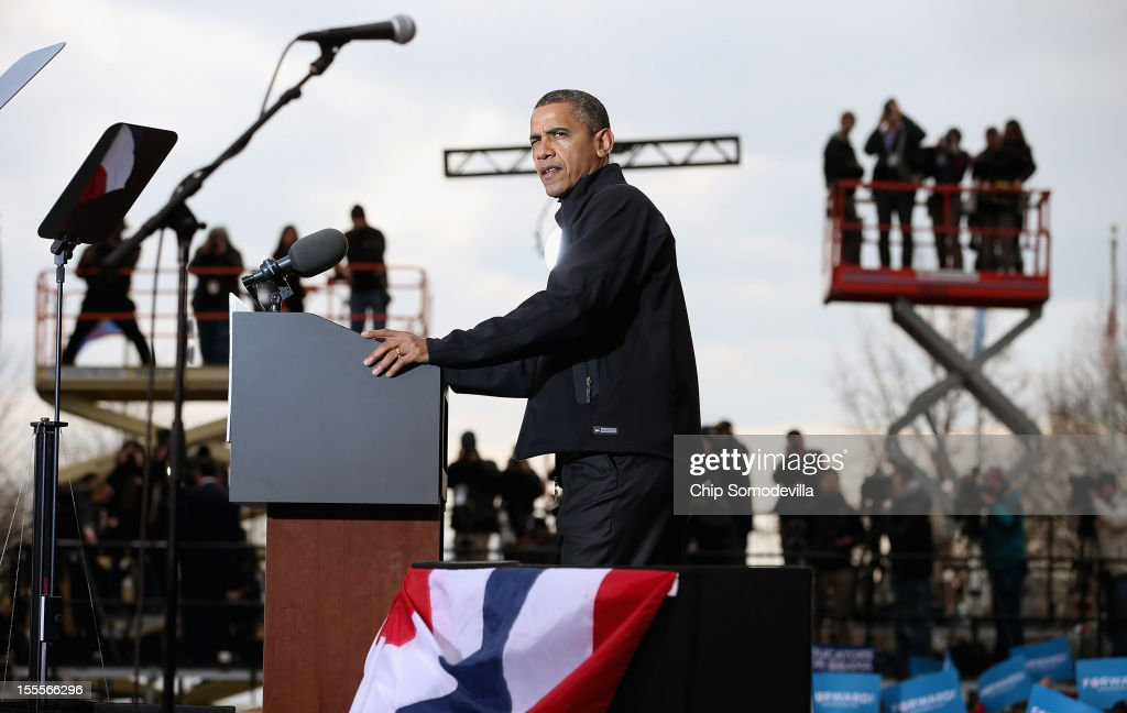 U.S. President <a gi-track='captionPersonalityLinkClicked' href=/galleries/search?phrase=Barack+Obama&family=editorial&specificpeople=203260 ng-click='$event.stopPropagation()'>Barack Obama</a> addresses a rally during the last day of campaigning in the general election November 5, 2012 in Madison, Wisconsin. Obama and his opponent, Republican presidential nominee and former Massachusetts Gov. Mitt Romney are stumping from one 'swing state' to the next in a last-minute rush to persuade undecided voters.