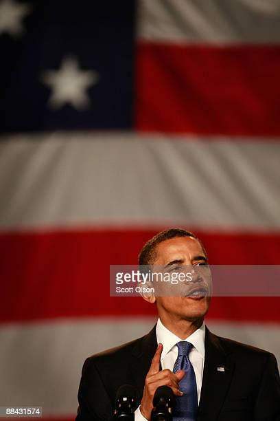 President Barack Obama addresses health care issues during a town hall style meeting at Southwest High School June 11 2009 in Green Bay Wisconsin...