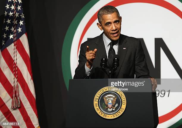 S President Barack Obama addresses members of the National Action Network at their 16th annual convention at the Sheraton New York Times Square on...