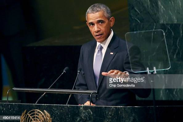US President Barack Obama addresses the 70th annual United Nations General Assembly at the UN headquarters September 28 2015 in New York City Obama...