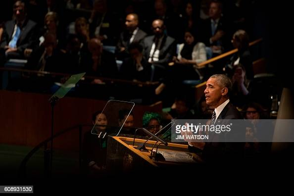 President Barack Obama addresses the 71st session of the General Assembly at the United Nations in New York September 20 2016 / AFP / JIM WATSON