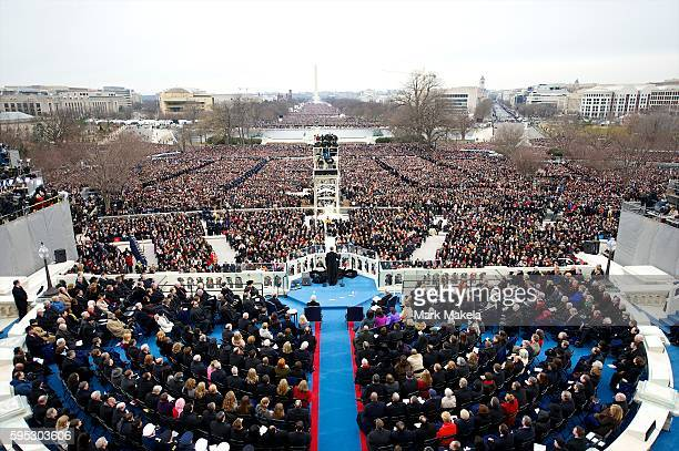 President Barack Obama addresses the crowd during the 57th Inauguration in Washington DC on January 20 2013