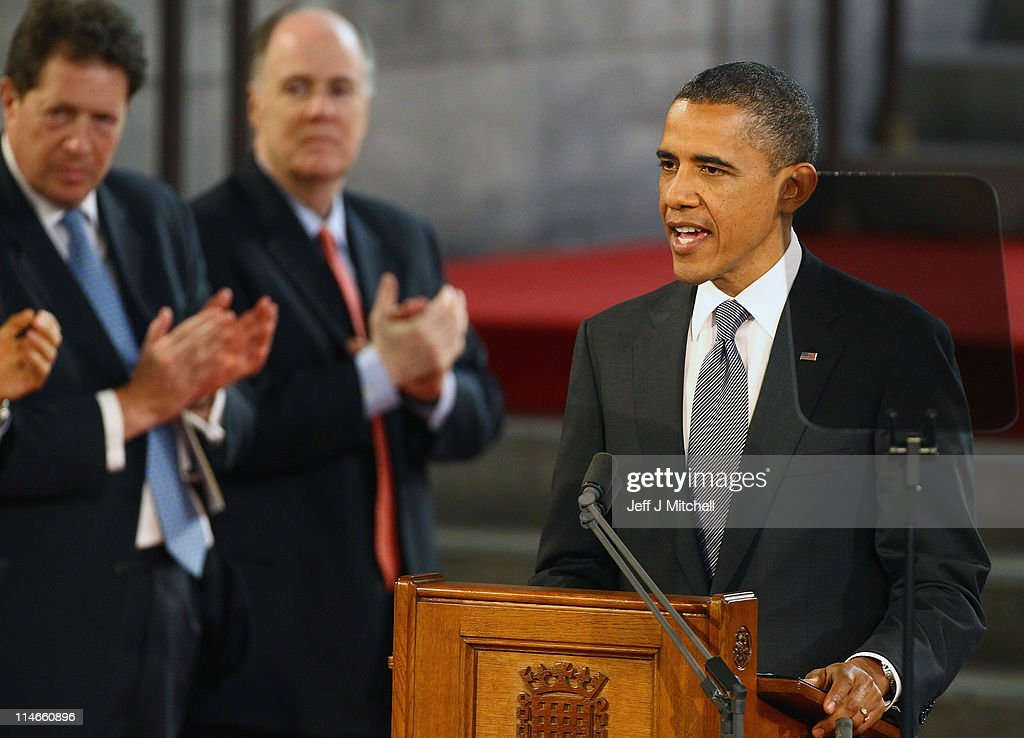 U.S. President, <a gi-track='captionPersonalityLinkClicked' href=/galleries/search?phrase=Barack+Obama&family=editorial&specificpeople=203260 ng-click='$event.stopPropagation()'>Barack Obama</a> addresses the members of Parliament in Westminster Hall on May 25, 2011 in London, England. The 44th President of the United States, <a gi-track='captionPersonalityLinkClicked' href=/galleries/search?phrase=Barack+Obama&family=editorial&specificpeople=203260 ng-click='$event.stopPropagation()'>Barack Obama</a>, and First Lady Michelle are in the UK for a two day State Visit at the invitation of HM Queen Elizabeth II. Last night they attended a state banquet at Buckingham Palace and today's events include talks at Downing Street and the President will address both houses of Parliament at Westminster Hall.