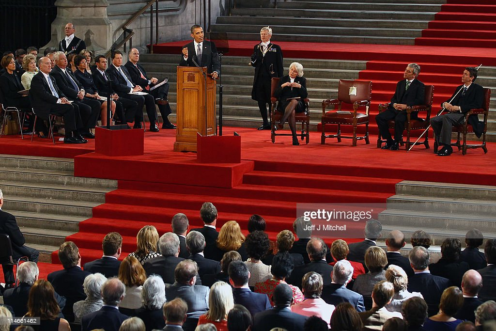 U.S. President <a gi-track='captionPersonalityLinkClicked' href=/galleries/search?phrase=Barack+Obama&family=editorial&specificpeople=203260 ng-click='$event.stopPropagation()'>Barack Obama</a> addresses the members of Parliament in Westminster Hall on May 25, 2011 in London, England. The 44th President of the United States, <a gi-track='captionPersonalityLinkClicked' href=/galleries/search?phrase=Barack+Obama&family=editorial&specificpeople=203260 ng-click='$event.stopPropagation()'>Barack Obama</a>, and First Lady Michelle are in the UK for a two day State Visit at the invitation of HM Queen Elizabeth II. Last night they attended a state banquet at Buckingham Palace and today's events include talks at Downing Street and the President will address both houses of Parliament at Westminster Hall.