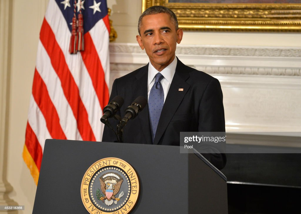 U.S. President <a gi-track='captionPersonalityLinkClicked' href=/galleries/search?phrase=Barack+Obama&family=editorial&specificpeople=203260 ng-click='$event.stopPropagation()'>Barack Obama</a> addresses the nation from the State Dining Room of the White House on August 7, 2014 in Washington, DC. Obama announced he has authorized military strikes against the Islamic State of Iraq and the Levant (ISIS) and a humanitarian aid drop. ISIS has been advancing on the important city of Erbil, Iraq and a civilian humanitarian crisis has developed.