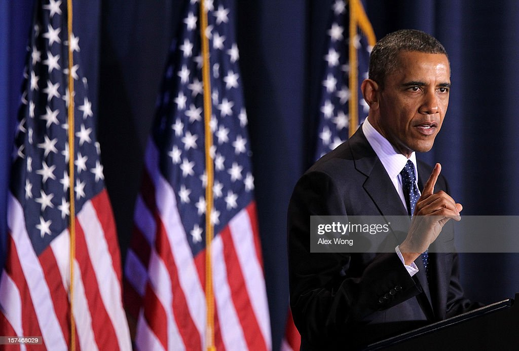 U.S. President <a gi-track='captionPersonalityLinkClicked' href=/galleries/search?phrase=Barack+Obama&family=editorial&specificpeople=203260 ng-click='$event.stopPropagation()'>Barack Obama</a> addresses the Nunn-Lugar Cooperative Threat Reduction (CTR) symposium December 3, 2012 at the National Defense University in Washington, DC. Obama spoke on the 20th anniversary of the CTR program which was established to secure and dismantle weapons of mass destruction and their associated infrastructure in former Soviet Union states.' Obama also warned President Assad of Syria not to use chemical weapons against his people.