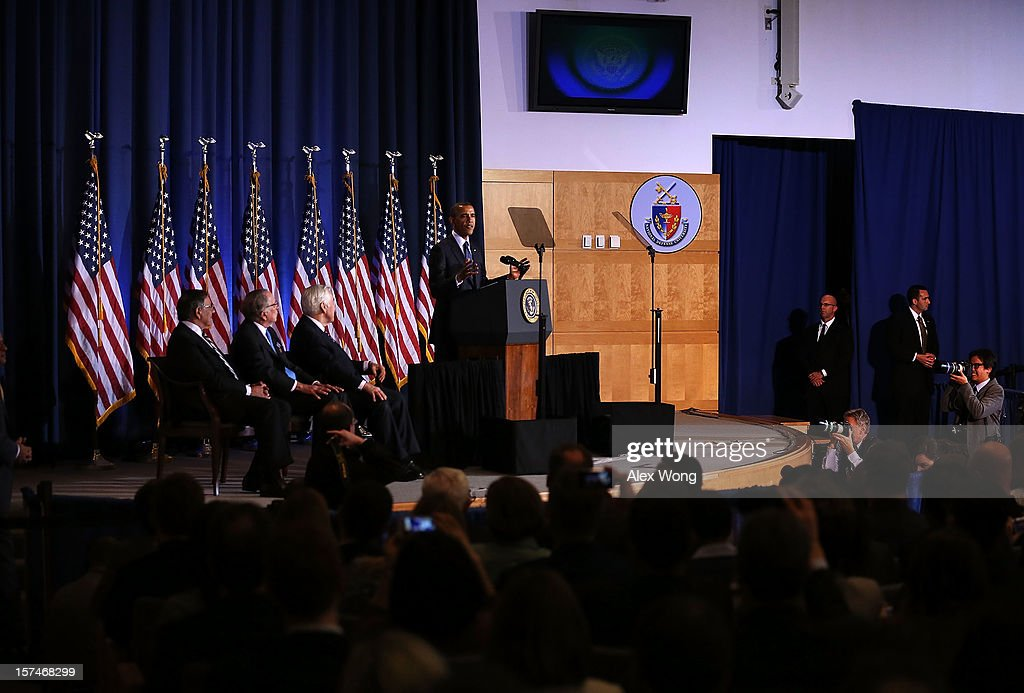 U.S. President Barack Obama (4th L) addresses the Nunn-Lugar Cooperative Threat Reduction (CTR) symposium as (L-3rd L) Secretary of Defense Leon Panetta, former Sen. Sam Nunn (D-GA) and Sen. Richard Lugar (R-IN) look on December 3, 2012 at the National Defense University in Washington, DC. Obama spoke on the 20th anniversary of the CTR program which was established to secure and dismantle weapons of mass destruction and their associated infrastructure in former Soviet Union states.' Obama also warned President Assad of Syria not to use chemical weapons against his people.