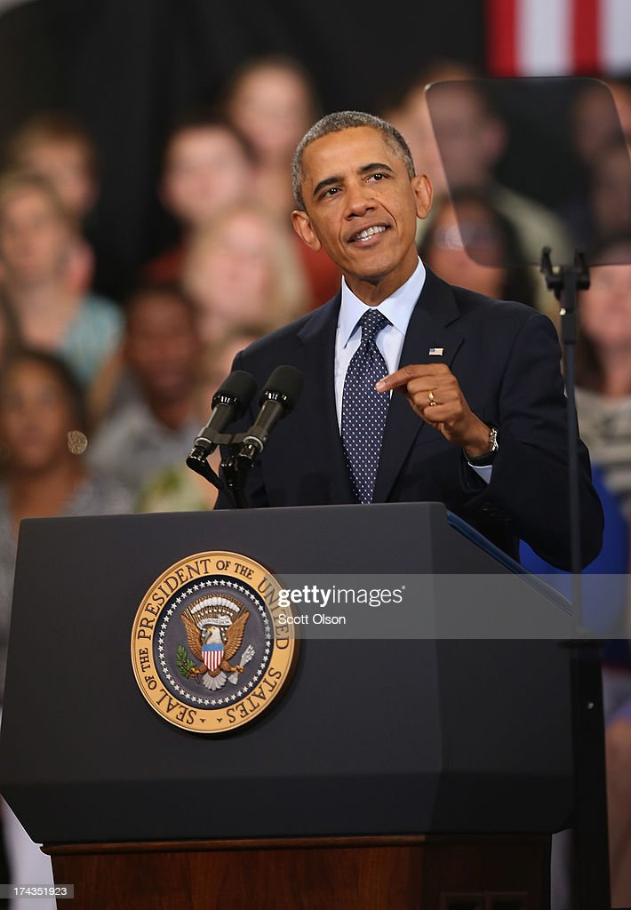 President <a gi-track='captionPersonalityLinkClicked' href=/galleries/search?phrase=Barack+Obama&family=editorial&specificpeople=203260 ng-click='$event.stopPropagation()'>Barack Obama</a> addresses the state of the economy during a speech at Knox College on July 24, 2013 in Galesburg, Illinois. Obama is scheduled to speak later today in Warrensburg, Missouri.