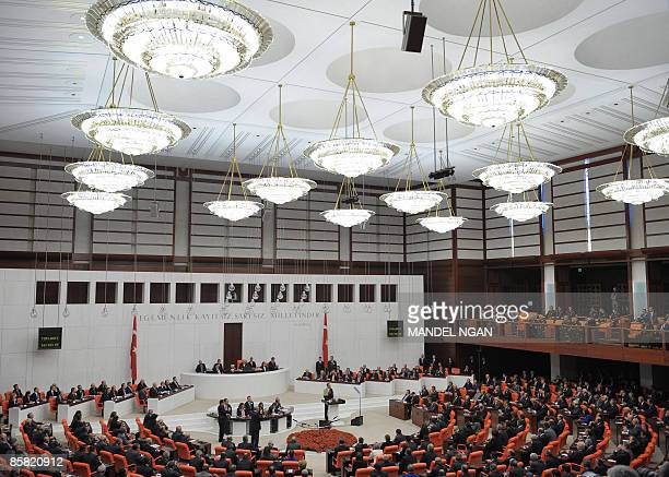US President Barack Obama addresses the Turkish Grand National Assembly April 06 2009 at the Turkish Parliament in Ankara US President Barack Obama...