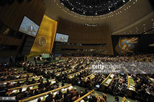 US President Barack Obama addresses the UN General Assembly at the United Nations headquarters in New York on September 23 2009 AFP PHOTO/Emmanuel...