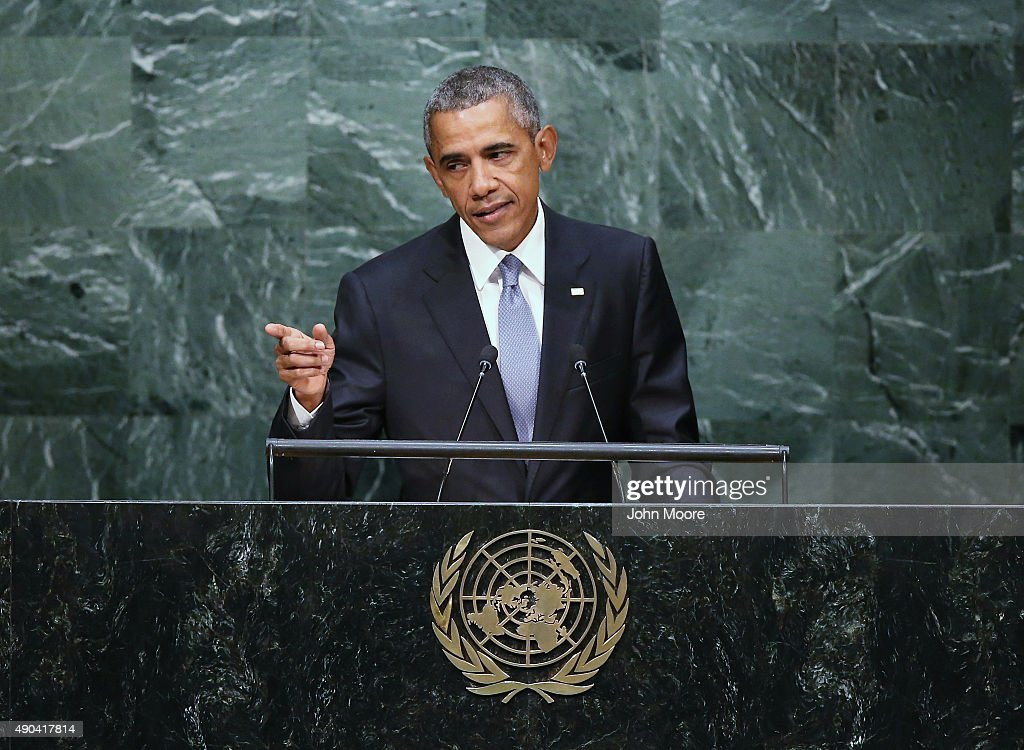 S President Barack Obama addresses the UN General Assembly on September 28 2015 in New York City World leaders gathered for the 70th session of the...