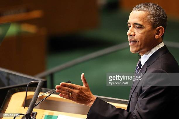 President Barack Obama addresses world leaders at the United Nations General Assembly on September 25 2012 in New York City Over 120 prime ministers...