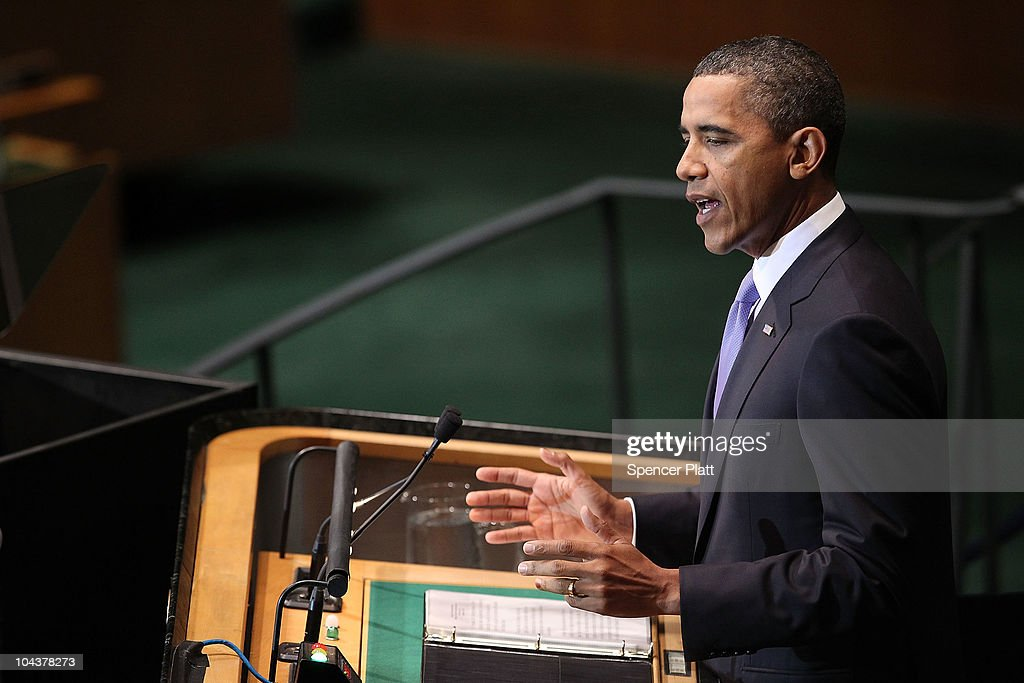 U.S. President <a gi-track='captionPersonalityLinkClicked' href=/galleries/search?phrase=Barack+Obama&family=editorial&specificpeople=203260 ng-click='$event.stopPropagation()'>Barack Obama</a> addresses world leaders during the General Assembly at the United Nations on September 23, 2010 in New York City. The annual gathering looks to highlight pressing global problems of war, poverty and environmental degradation.