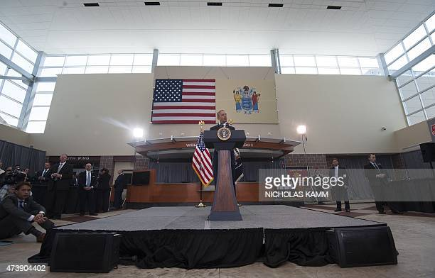 US President Barack Obama addresses youth and law enforcement from the Camden community in Camden New Jersey on May 18 2015 AFP PHOTO/NICHOLAS KAMM