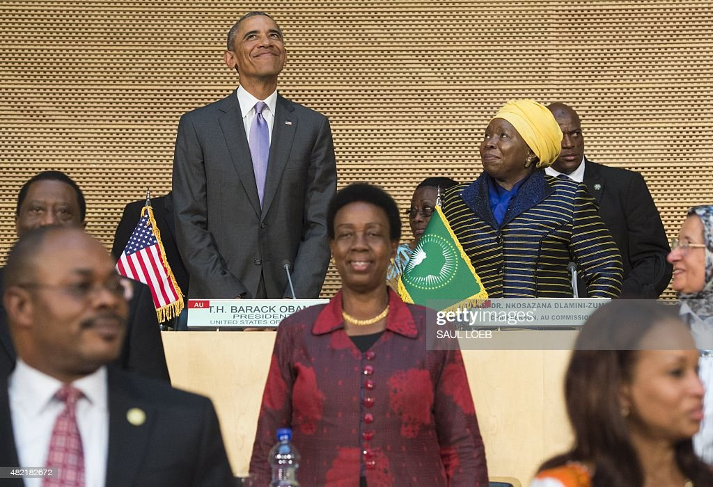 US President <a gi-track='captionPersonalityLinkClicked' href=/galleries/search?phrase=Barack+Obama&family=editorial&specificpeople=203260 ng-click='$event.stopPropagation()'>Barack Obama</a> (L), alongside African Union Chairperson Nkosazana Dlamini Zuma (R), arrives to speak about security and economic issues and US-Africa relations in Africa at the African Union Headquarters in Addis Ababa, on July 28, 2015. <a gi-track='captionPersonalityLinkClicked' href=/galleries/search?phrase=Barack+Obama&family=editorial&specificpeople=203260 ng-click='$event.stopPropagation()'>Barack Obama</a> arrived at African Union headquarters today, where he will become the first US president to address the 54-member continental bloc, at the end of a tour focused on corruption, rights and security.