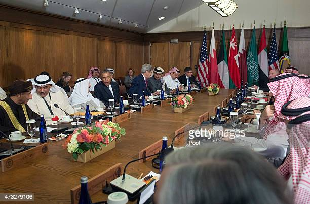 S President Barack Obama alongside US Secretary of State John Kerry speaks with Sheikh Sabah AlAhmad AlJaber AlSabah Amir of the State of Kuwait...