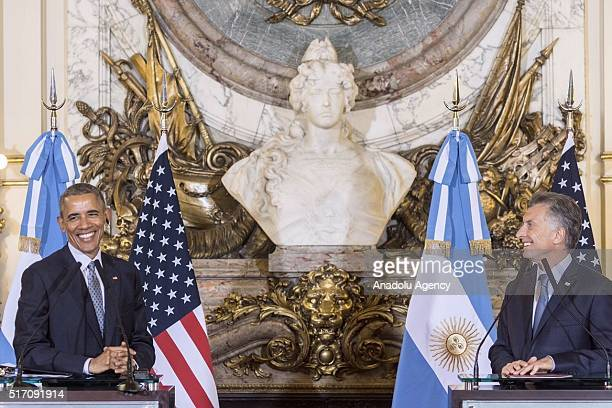 President Barack Obama and Argentina's President Mauricio Macri hold a press conference after their meeting at the presidential palace 'Casa Rosada'...