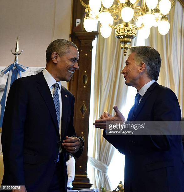 President Barack Obama and Argentina's President Mauricio Macri meet at presidential palace 'Casa Rosada' within Obama's two days long official visit...